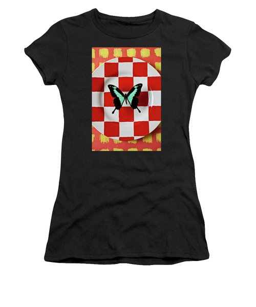 Green And Black Butterfly On Red Checker Plate Women's T-Shirt