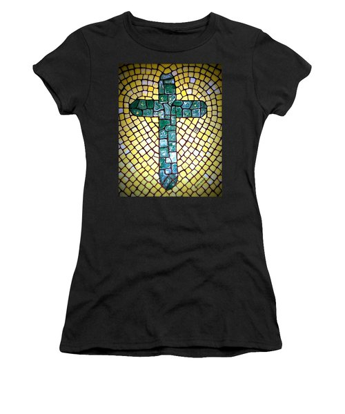 Women's T-Shirt featuring the painting Green Cross by Cynthia Amaral