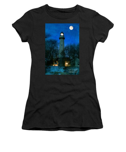 Grosse Point Lighthouse Before Dawn Women's T-Shirt (Athletic Fit)