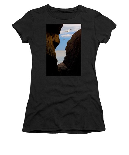 Women's T-Shirt (Junior Cut) featuring the photograph Gulls Of Acadia by Brent L Ander