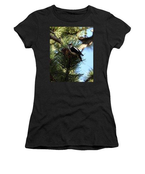 Hairy Woodpecker On Pine Cone Women's T-Shirt