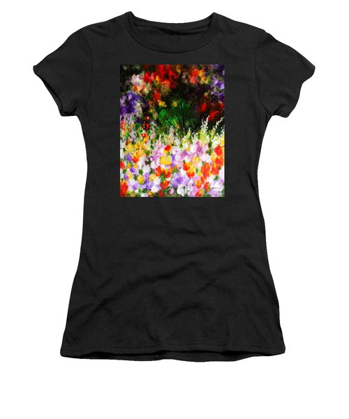 Women's T-Shirt (Junior Cut) featuring the painting Heavenly Garden by Kume Bryant