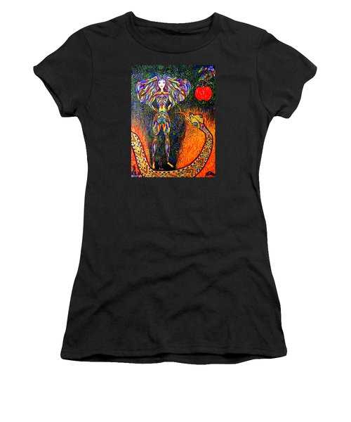 Women's T-Shirt (Junior Cut) featuring the painting Hey Eve Wanna Play With Me by Marie Schwarzer