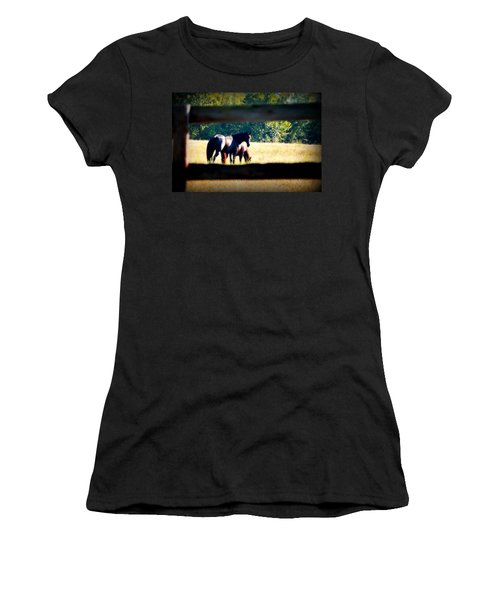 Women's T-Shirt (Junior Cut) featuring the photograph Horse Photography by Peggy Franz