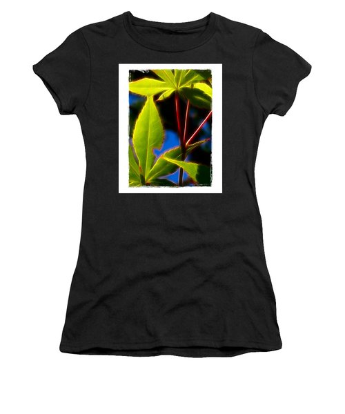 Japanese Maple Leaves Women's T-Shirt (Junior Cut) by Judi Bagwell