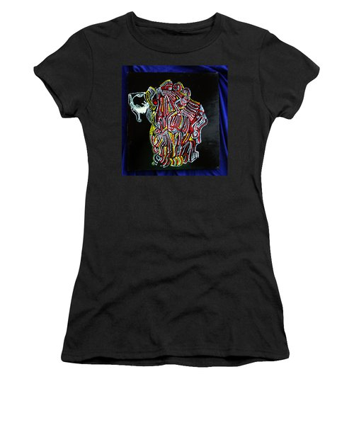 Women's T-Shirt (Junior Cut) featuring the painting Japanese Opera - Noh by Gloria Ssali