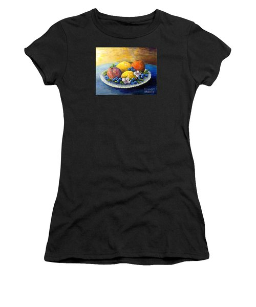 Women's T-Shirt (Junior Cut) featuring the painting Lemons And Blueberries by Lou Ann Bagnall
