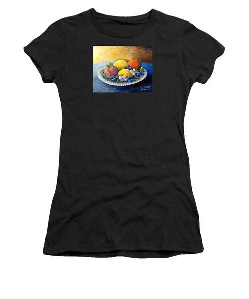 Lemons And Blueberries Women's T-Shirt (Junior Cut) by Lou Ann Bagnall