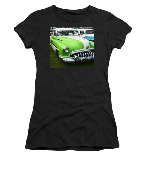 Lime Green 1950s Buick Women's T-Shirt (Junior Cut) by Kym Backland