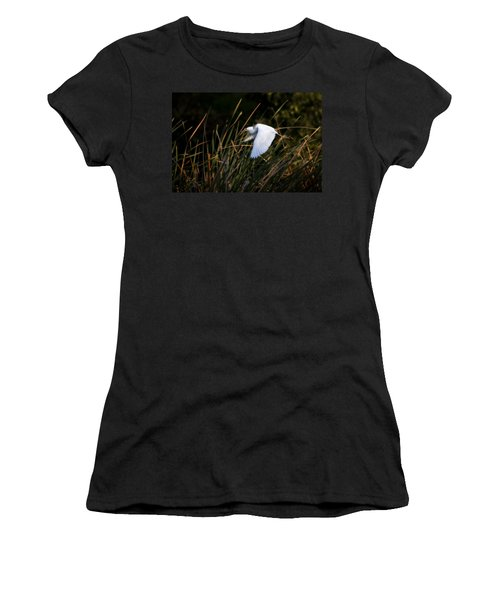 Women's T-Shirt (Junior Cut) featuring the photograph Little Blue Heron Before The Change To Blue by Steven Sparks