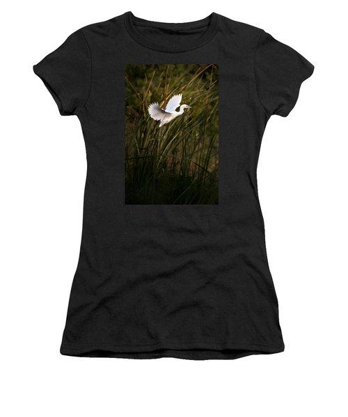 Women's T-Shirt (Junior Cut) featuring the photograph Little Blue Heron On Approach by Steven Sparks