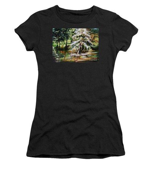 Women's T-Shirt (Junior Cut) featuring the painting Marsh Tide by Karen  Ferrand Carroll