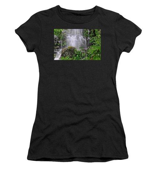 Mendenhall Glacier Flooding Waterfall Juneau Alaska 1542 Women's T-Shirt (Junior Cut) by Michael Bessler