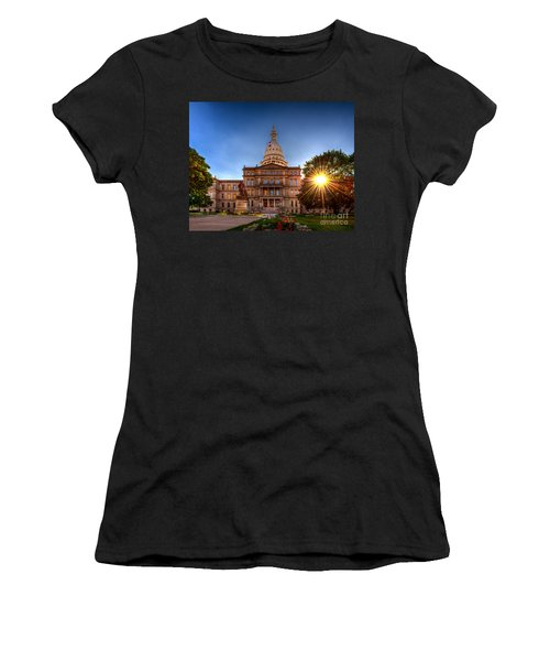Women's T-Shirt (Junior Cut) featuring the photograph Michigan Capitol - Hdr-1 by Larry Carr