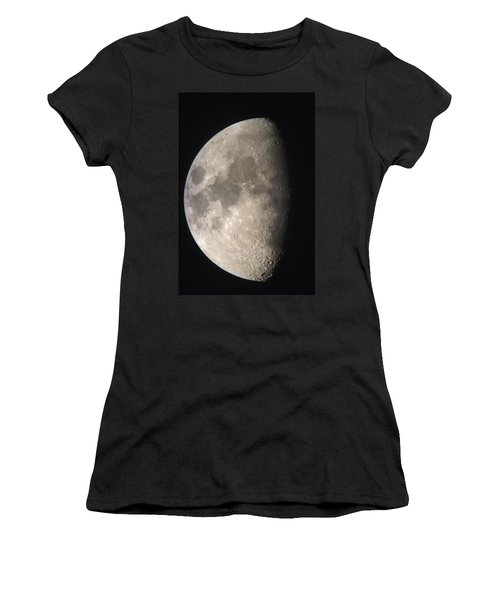 Women's T-Shirt (Junior Cut) featuring the photograph Moon Against The Black Sky by John Short