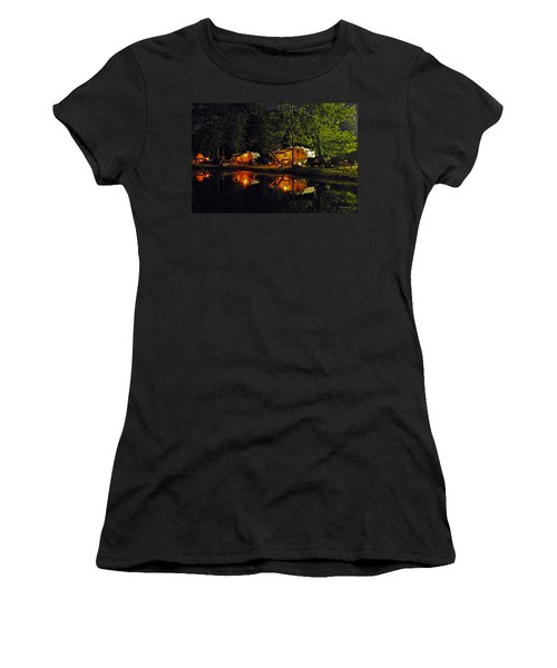 Nighttime In The Campground Women's T-Shirt (Junior Cut) by Kay Lovingood