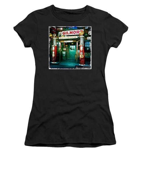 Women's T-Shirt (Junior Cut) featuring the photograph Old Fashioned Filling Station by Nina Prommer