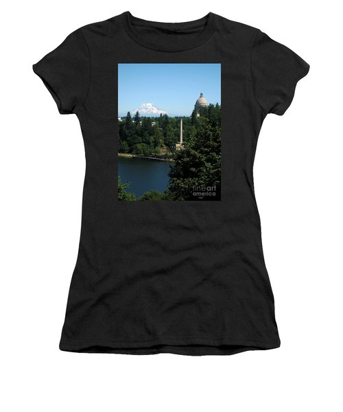 Olympia Wa Capitol And Mt Rainier Women's T-Shirt (Athletic Fit)