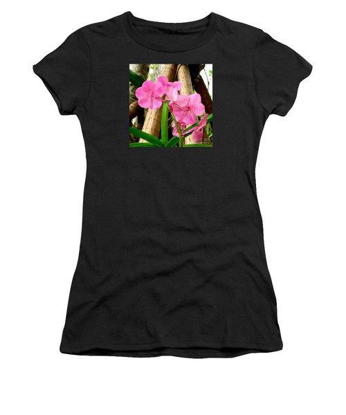 Pink Hawaiian Orchid Women's T-Shirt (Junior Cut) by Tanya  Searcy