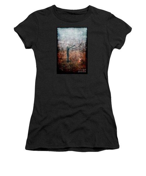 Women's T-Shirt (Junior Cut) featuring the photograph Red Fox Under Tree by Dan Friend