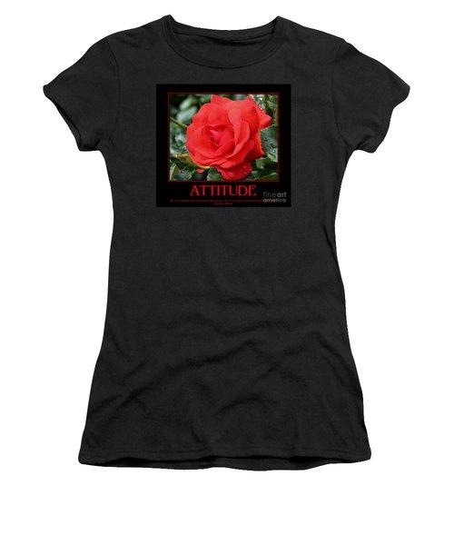 Red Rose Attitude Women's T-Shirt (Junior Cut) by Smilin Eyes  Treasures