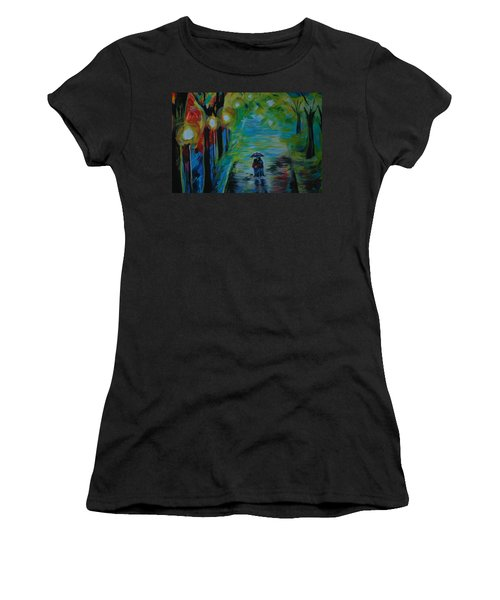 Women's T-Shirt (Junior Cut) featuring the painting Romantic Stroll Series 1 by Leslie Allen