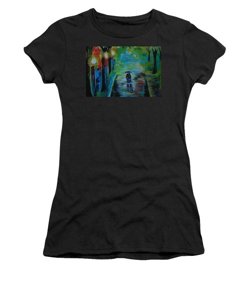 Women's T-Shirt (Junior Cut) featuring the painting Romantic Stroll Series II by Leslie Allen