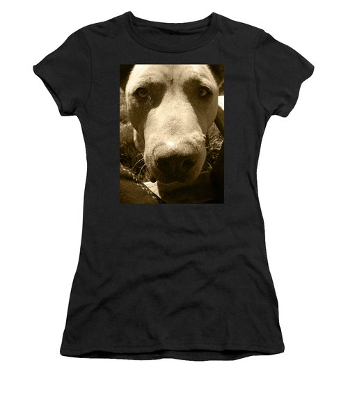 Roscoe Pitbull Eyes Women's T-Shirt (Junior Cut) by Kym Backland