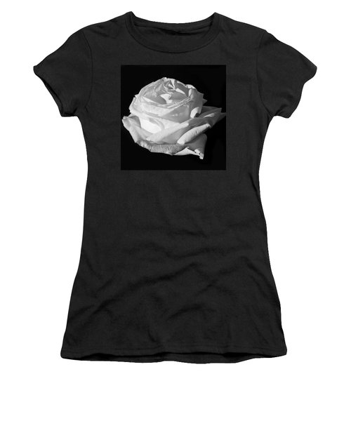 Women's T-Shirt (Junior Cut) featuring the photograph Rose Silver Anniversary Monochrome by Steve Purnell