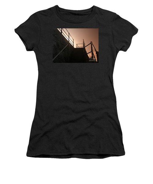 Women's T-Shirt (Junior Cut) featuring the photograph Seaside Railings by Terri Waters