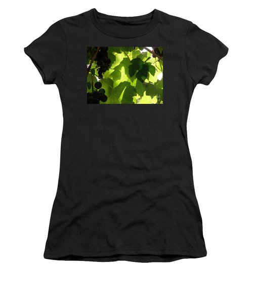Women's T-Shirt (Junior Cut) featuring the photograph Shadow Dancing Grapes by Lainie Wrightson