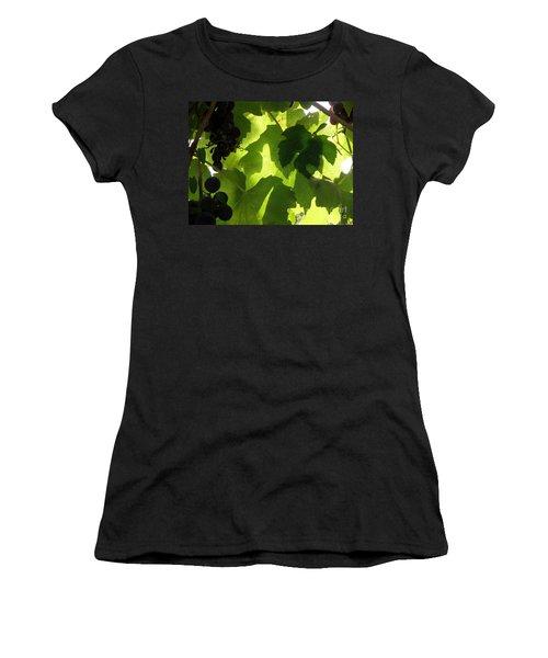 Shadow Dancing Grapes Women's T-Shirt (Junior Cut) by Lainie Wrightson