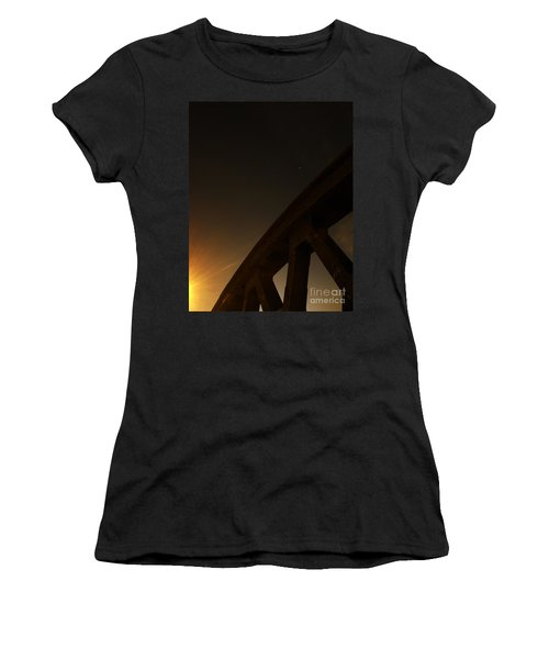 Women's T-Shirt (Junior Cut) featuring the photograph Starry Night On Sunset Bridge by Andy Prendy