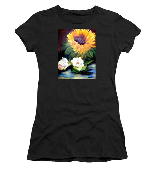 Sunflower And White Roses Women's T-Shirt (Athletic Fit)