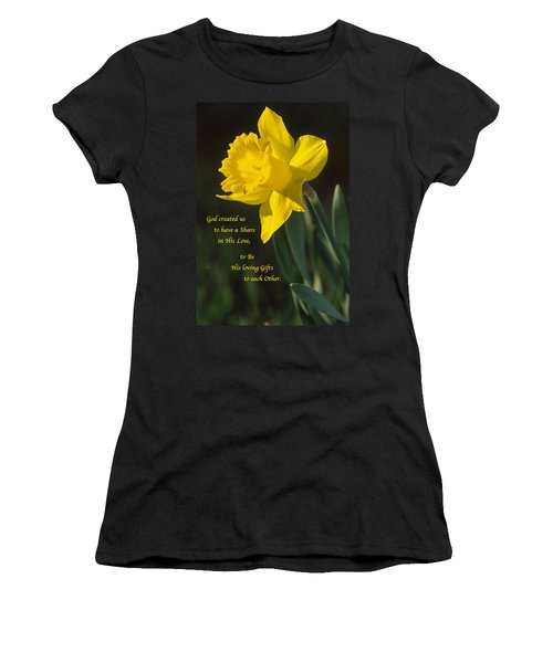 Sunny Daffodil With Quote Women's T-Shirt (Athletic Fit)