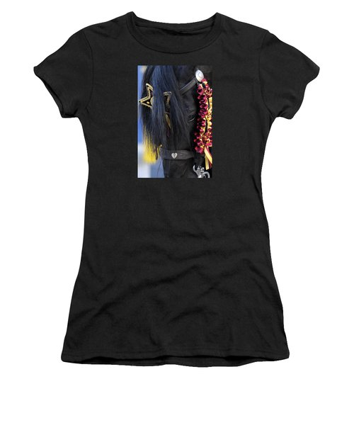 sweetheart - a Menorca race horse with traditional multicolor ribbons and mirror star Women's T-Shirt (Junior Cut) by Pedro Cardona