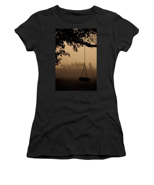Women's T-Shirt (Junior Cut) featuring the photograph Swing In The Fog by Cheryl Baxter