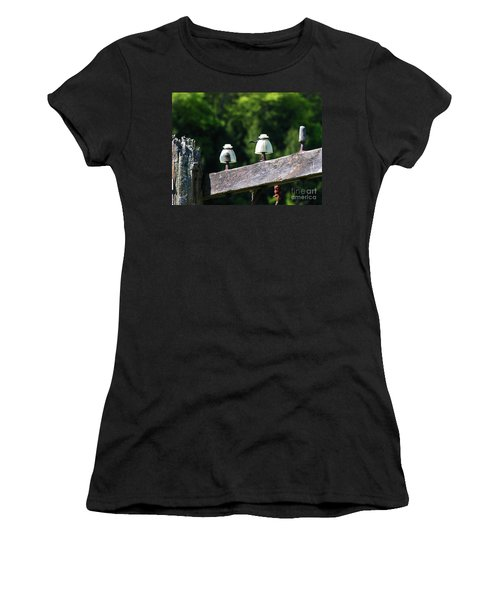 Women's T-Shirt (Junior Cut) featuring the photograph Telephone Pole And Insulators by Sherman Perry