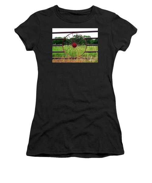 Women's T-Shirt (Junior Cut) featuring the photograph Texas Wildflowers Through Wagon Wheel by Kathy  White