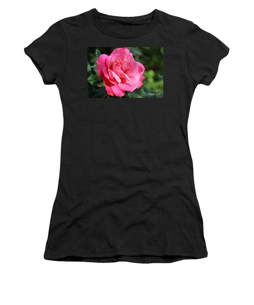 Women's T-Shirt (Junior Cut) featuring the photograph The Pink Rose by Fotosas Photography