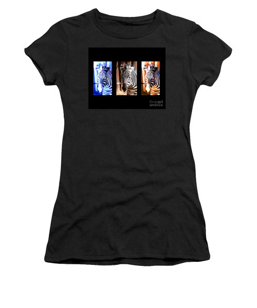 Women's T-Shirt (Junior Cut) featuring the photograph The Three Zebras Black Borders by Rebecca Margraf