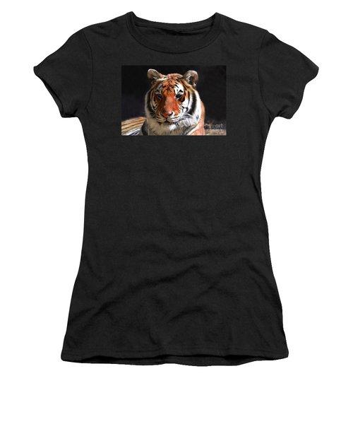 Tiger Blue Eyes Women's T-Shirt (Junior Cut) by Rebecca Margraf
