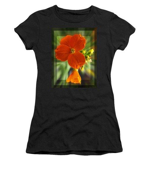 Women's T-Shirt (Junior Cut) featuring the photograph Tiny Orange Flower by Debbie Portwood