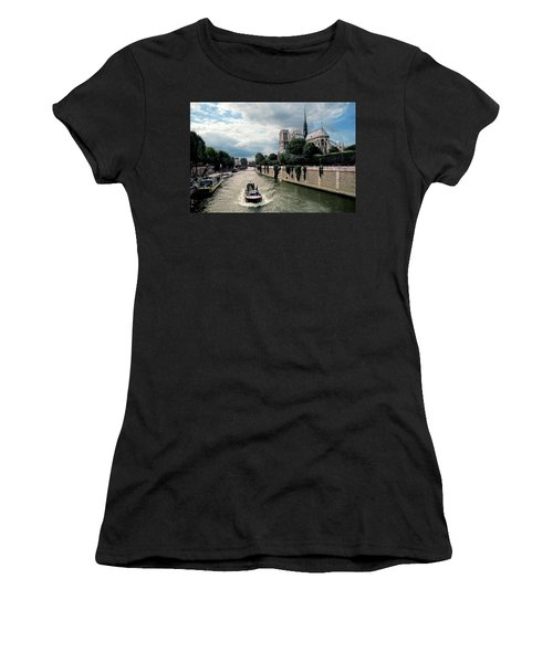 Women's T-Shirt (Junior Cut) featuring the photograph Tour Boat Passing Notre Dame by Dave Mills