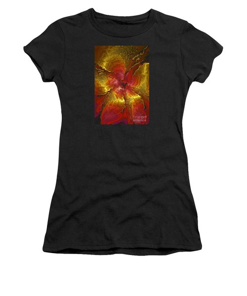 Vibrant Red And Gold Women's T-Shirt (Athletic Fit)
