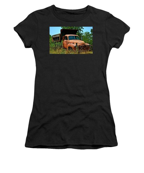 Women's T-Shirt (Junior Cut) featuring the photograph Vintage Old Time Truck by Peggy Franz