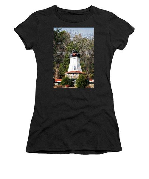 Women's T-Shirt (Junior Cut) featuring the photograph White Windmill by Susan Leggett