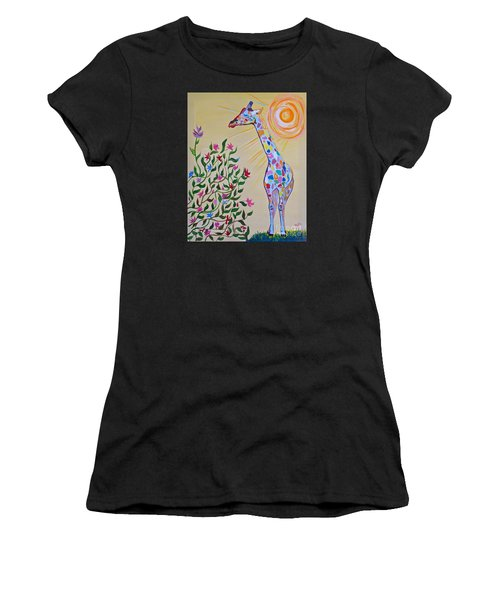 Wild And Crazy Giraffe Women's T-Shirt (Athletic Fit)