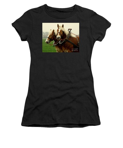 Women's T-Shirt (Junior Cut) featuring the photograph Work Horses by Lainie Wrightson