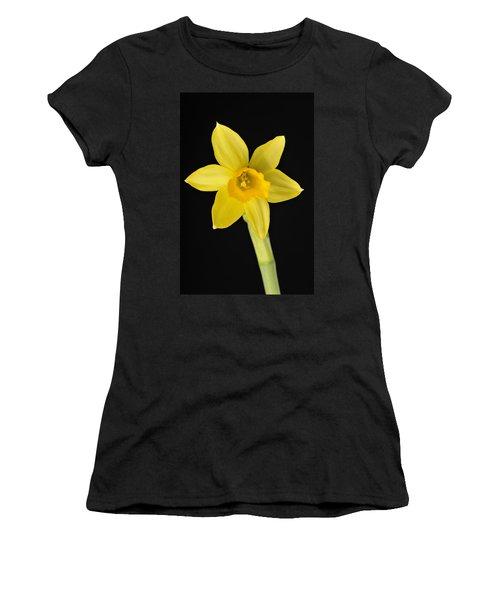 Yellow Daffodil Black Background Women's T-Shirt